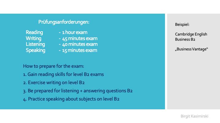 Prüfungsanforderung Cambridge Englisch Business Zertifikat